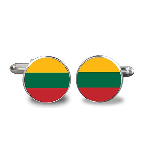 Fashion Handmade Cufflink Classic Style Lithuanian National Flag Glass Steampunk Art Picture Cufflink Jewelry