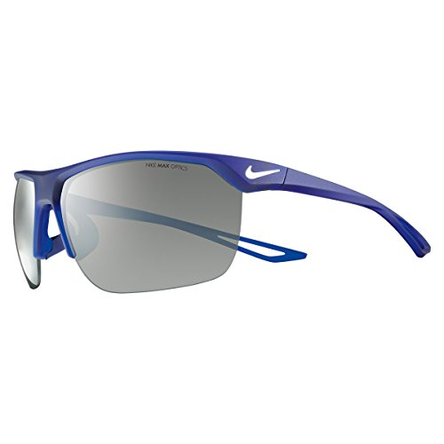 (Nike Golf Trainer Sunglasses, Matte Deep Royal Blue/White Frame, Grey with Silver Flash Lens)