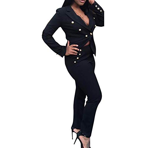 Women's Two Piece Office Lady Blazer Business Suit Set Blazer Jacket and Pants Black Medium ()