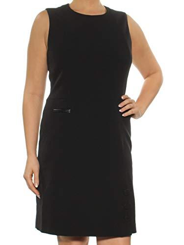 (Anne Klein Women's Sleeveless Fit &Flare Button Skirt Dress, Black, 14)
