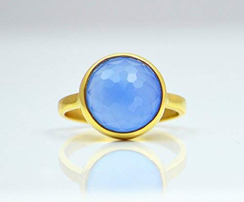 Blue Chalcedony ring, stackable ring, Vermeil Gold or silver, bezel set ring, round ring, bright blue gemstone ring, Birthstone ring, Cobalt chalcedony ring