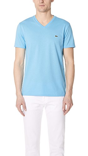 Lacoste Men's Short Sleeve V Neck Pima Jersey Shirt T-Shirt, TH6710, Oceanic Blue, X-Large by Lacoste