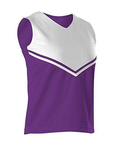 Alleson Girls Cheerleading V Shell Top with Braid, Purple/White, Small ()