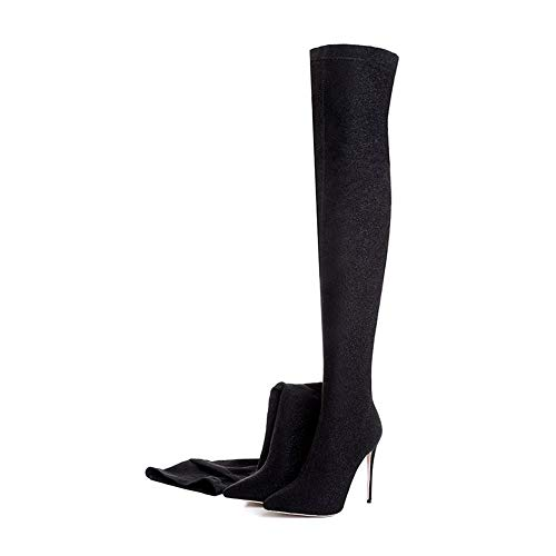 Heels HCBYJ Tacones High Boots The Ladies Over Non Winter High Sequins Slip Thigh Knee Boots xarxqCwP