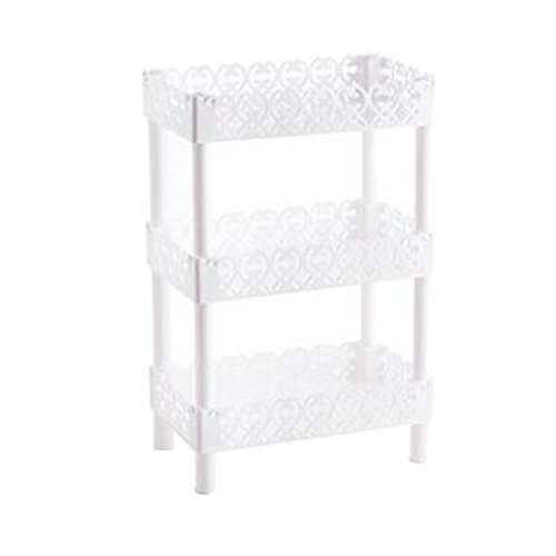 JINBEST Storage Shelves 3 Tier Plastic Bathroom Sink Corner Rack Multilayer Organizer Shelves Kitchen Storage Rack Holder (White, A) by JINBEST
