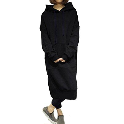 Women Blouse, Neartime Women Casual Hood Sweatshirt Hooded Ladies Long Pullover Tops (L2, Black) by NEARTIME (Image #7)