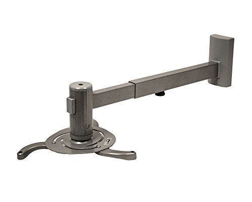 NavePoint Universal LCD/DLP Projector Wall Mount Bracket with Tilt and 360 Degrees Swivel Holds up to 44 Lbs Silver