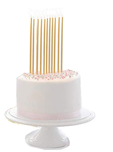 24 Count Party Long Thin Cake Candles Metallic Birthday Candles in Holders for Birthday Cakes Cupcake, Gold