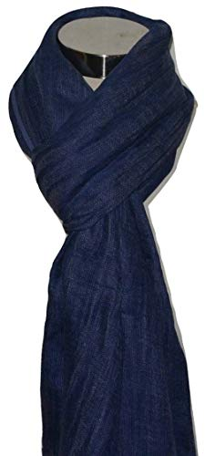 Natural Flax Linen, Solid Color, Light, Airy All Weather Scarf. (Blue).X2471 ()