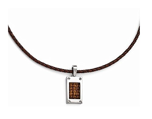 (Edward Mirell Titanium and Brown Leather Pendant Necklace,)