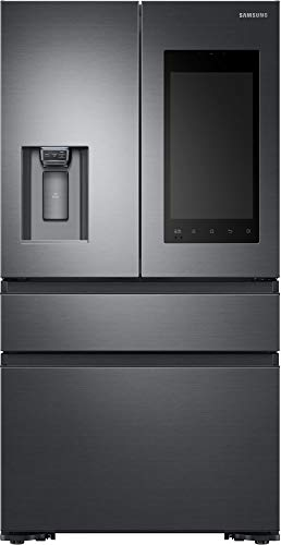 (Samsung Black Stainless Steel Counter-Depth 4-Door Refrigerator With Family Hub 2.0)