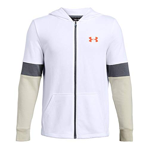 Under Armour Boys' Rival Terry Full Zip Sweat Shirt, White//Orange Glitch, Youth Large ()