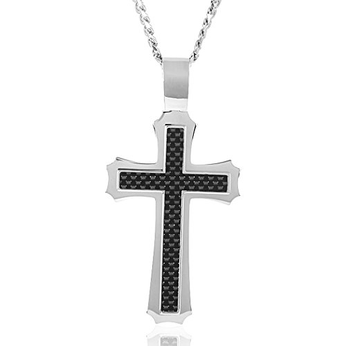 Crucible Jewelry Mens Stainless Steel Carbon Fiber Inlay Cross Pendant Cable Chain Pendant Necklace, 24