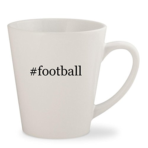#football - White Hashtag 12oz Ceramic Latte Mug Cup
