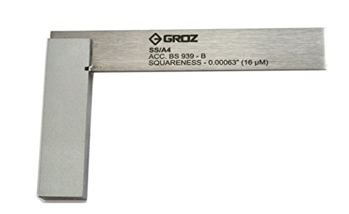 Groz 01002 SS/A4 Precision Steel Engineering Square, 4