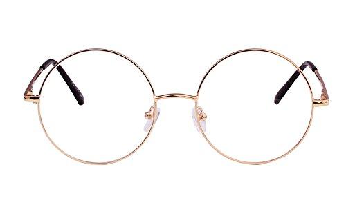 Agstum Retro Round Prescription ready Metal Eyeglasses Frame 51mm (X-Large Size) (Gold, - Type Potter Prescription Glasses Harry