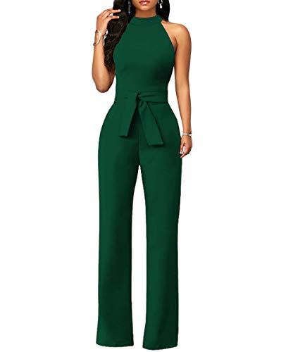(Chic-Lover Women's Elegant Solid Jumpsuit Sleeveless High Waisted Wide Leg Pants Jumpsuits Romper with Belt Jasper XL)