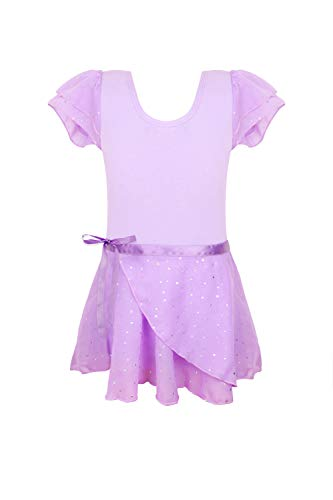 Leotards for girls ballet purple size 6-7 years old 5-6x sequins ruffle sleeve skirted leotards for dance