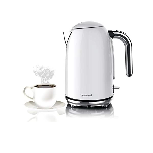 Homeart Premium Electric Kettle, Teapot, Water Boiler, Stainless Steel, 1.7 Liter, Pearl White 2