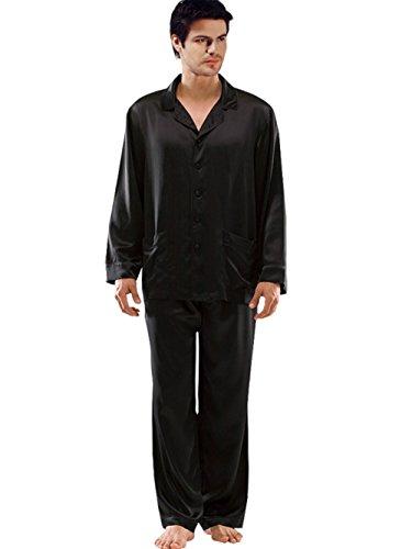 ElleSilk Men's Silk Pajama Set, Pure Mulberry Silk Sleepwear, Machine Washable, Black, XL by ElleSilk