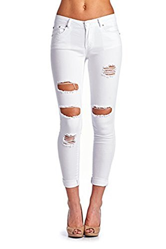 Women's Hight Waisted Butt Lift Stretch Ripped Skinny Jeans Distressed Denim Pants (US 14, White 15)