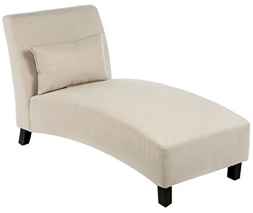 Traditional Chaise Lounger -This Polyester Microfiber Upholstered Lounge Is Perfect for Your Home or Office - Put This Accent Sofa Furniture in the Bedroom or Living Room - Gift - Free Decor Pillow! (Chaise Indoor Covers Lounge)