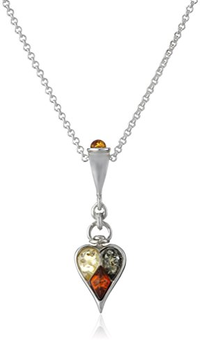 Multicolor Amber Sterling Silver Heart Pendant Necklace, 18
