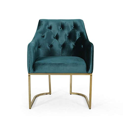 Christopher Knight Home 308960 Fern Modern Tufted Glam Accent Chair with Velvet Cushions and U-Shaped Base, Teal Finish, Black, Rose Gold