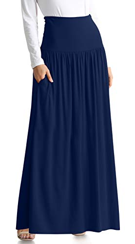 Navy Blue Skirts for Women Reg and Plus Size Long Skirt Navy Blue Maxi Skirt Ankle Length Skirt Casual Maxi Skirt Womens Maternity Skirt (Size XXX-Large US 16-18, Navy Ankle-Length)