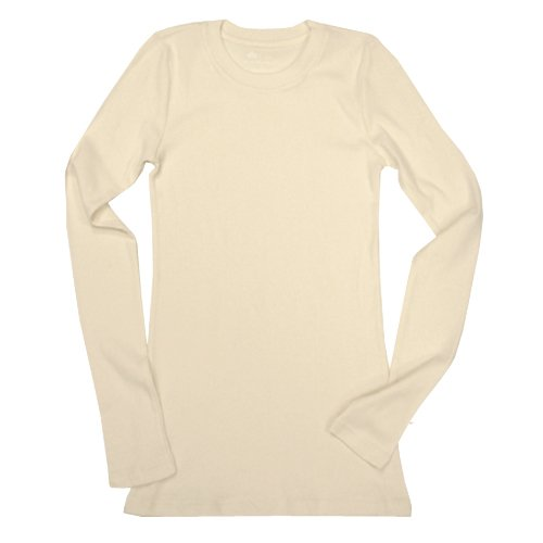 Ecoland Women's Organic Cotton Long Sleeve Fitted Crew Neck Tee - Natural S