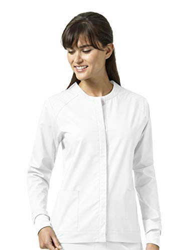 (Vera Bradley Signature Collection Women's Ruth Button Front Quilted Warm Up Jacket- White- X-Small)