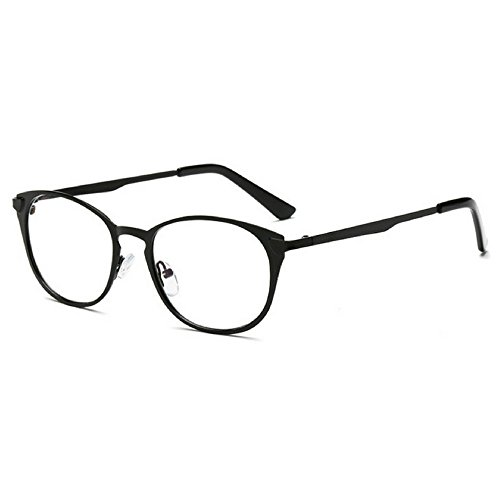 Teddith Blue Blocking Glasses Metal Frame Gamer Computer Reading Sleep Aid Clear Lens for Men/Women Matte Black
