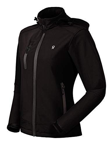 Little Donkey Andy Women's Softshell Jacket, Ski Snowboarding Jacket with Removable Hood, Fleece Lined and Water Repellent Black XL