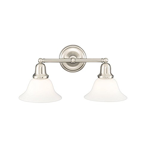 Edison Collection 2-Light Vanity Light - Satin Nickel Finish with Opal Matte Glass Shade (415 Edison Collection)