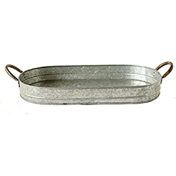 Creative Co-Op DA6583 Casual Country Galvanized Iron Tray with Ear Handles