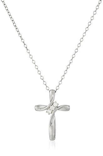 Sterling Silver Diamond Three-Stone Cross Pendant Necklace (1/10 cttw, I-J Color, I2-I3 Clarity), 18