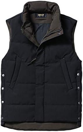 タンクトップ ベストベストダウン冬の厚手のメンズカップルジャケットベストショートコットンベストのジャケット高い襟ダウンベストノースリーブベストスリムライトコート (Color : Black, Size : M)