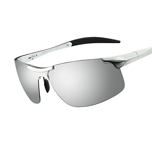 Duco Men's Sports Style Polarized Sunglasses Driver Glasses 8177S (Silver Frame Mirror Lens)