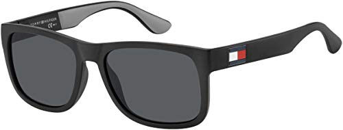 Tommy Hilfiger Men's TH1556S Square Sunglasses, Black & Grey, 56 mm (Tommy Hilfiger Sunglasses For Men In India)