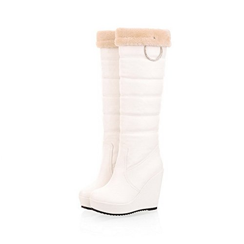 White Soft Womens Closed Wedge Round with AmoonyFashion B and High Heels M Metalornament Boots Toe US Solid 5 Material H6qYHFwd