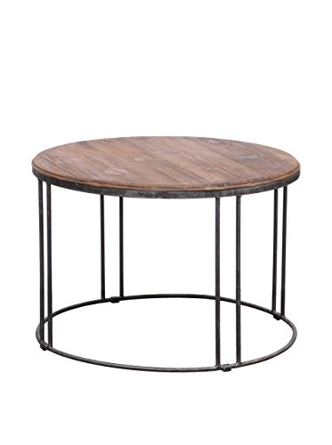 Burnham Mid-Century Modern Vintage Reclaimed Wood-Iron Round Coffee or Tea Living Room Table