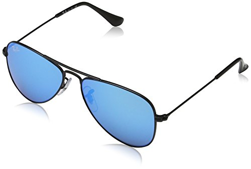 Ray-Ban Junior Rj9506s Oval Sunglasses,Matte Black/Blue Mirror,50 - Rayban Glasses Blue