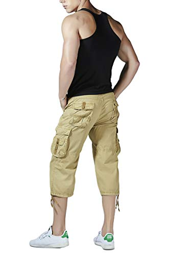 - Yin Chen Mens Cargo Shorts Relaxed Fit Chinos Khaki Capri Tactical Pants with Pockets