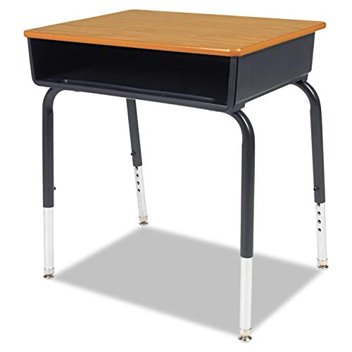 Virco Open Front Student Desk, 24w x 18d, Medium Oak Top, 2/Carton - 785084 ()