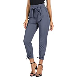 GRACE KARIN Women's Pants Trouser Slim Casual Cropped Paper Bag Waist Pants S, Cl903 Style-blue-gray