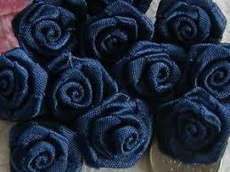 "Ribbon Roses 1"" Navy Blue Pack of 72 Flowers"