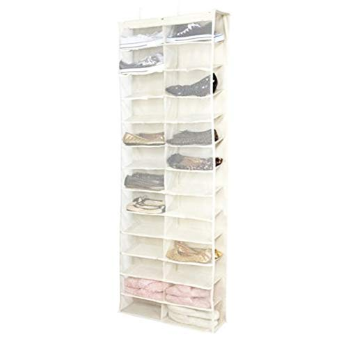 TG888 White Rack Hanging Storage 26 Pocket Over The Door Shoe Organizer Space Saver Hanger by TG888Warehouse