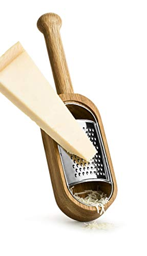 Sagaform Deluxe Cheese Grater and Server – Premium Oak Wood and Stainless Steel Design – Remove Grater for Wooden Serving Dish – Comfortable Grip Handle, Easy to Clean