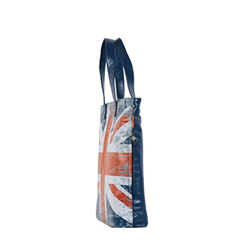 Tasche Jugendliche Mädchen Jungen Unisex Schultertasche Handtasche Shopper Motiv Flagge England Fahne UK Veganes Leder Blau A4 Uni Style A100017