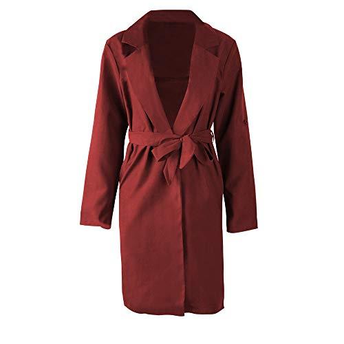 Franterd Women Coat Autumn Turn-Down Collar Cardigan Open Front Windbreaker with Belt Overcoat Outwear Pockets Jacket by Franterd (Image #3)